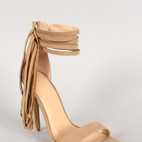 Suede Fringe Ankle Cuff Open Toe Stiletto Heel Size: 7, Color: Beige