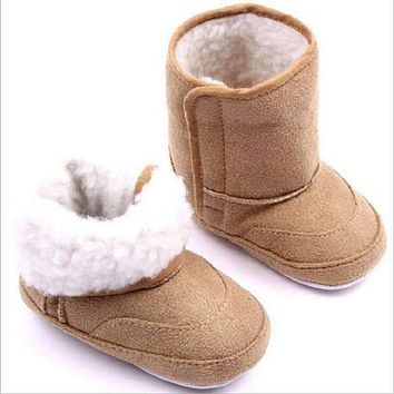 Baby Boy Winter Fur Lined Suede Boots