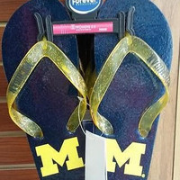NCAA Michigan Wolverines Women's Glitter Thong Flip Flop