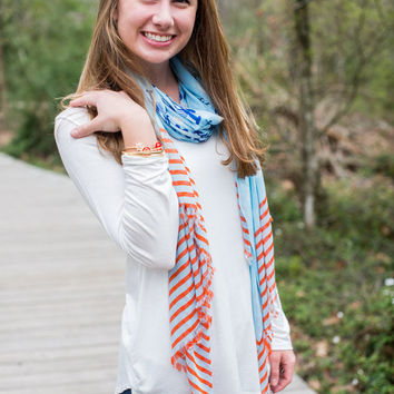 Lobster Scarf - Red, White & Blue Stripes