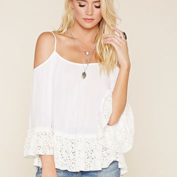 Floral Lace Open-Shoulder Top