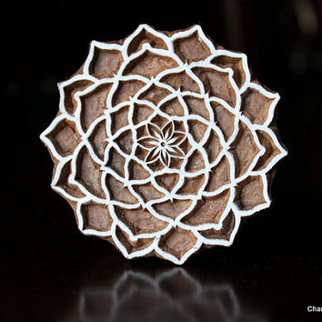 Hand Carved Indian Wood Textile Stamp Block- Dahlia Flower (REDUCED)