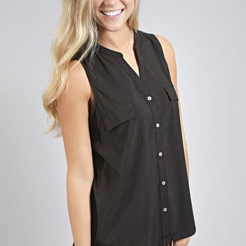 keep it profesh button blouse - black