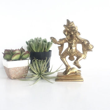 Vintage Brass Ganesha with Mouse, Ganesh Deity Figurine with Rat