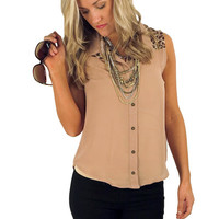 mind games top - taupe | MACA Boutique