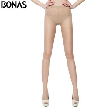 BONAS Plus Size Tights Women Black Pantyhose Nylon Waist Design Girl Summer Style Solid Color Style Spandex Thin Sexy