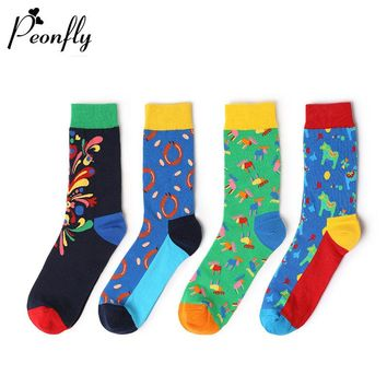 PEONFLY 4 pair Men's Dress / Casual Happy Socks Long Crew