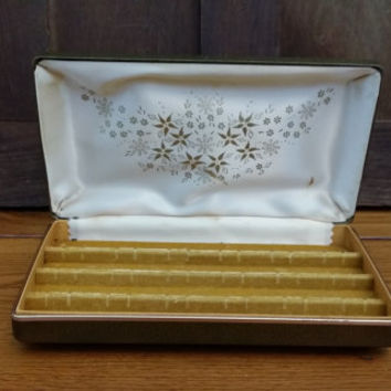 Vintage Tan Faux Leather Jewelry Earring Travel Case Organization Storage Display