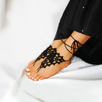 Lace Black Barefoot Sandals, Crochet Beach Sandles