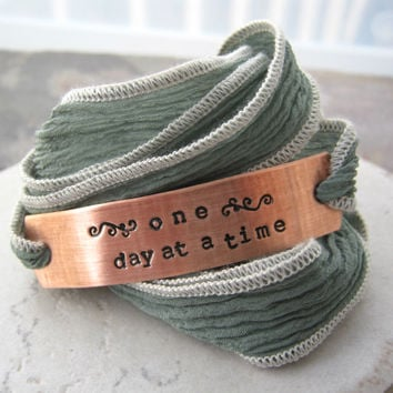 One Day at a Time Sobriety Bracelet, Silk Ribbon
