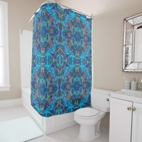Elegant turquoise pattern shower curtain