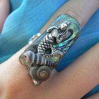 mermaid abalone ring mermaid jewelry siren seashells abalone nautical boho gypsy cruise wear beach resort wear  high fashion gypsy hipster