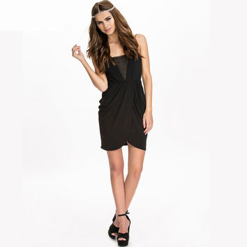 Black Criss-Cross Mesh Dress
