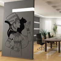 Vinyl Wall Decal Sticker Queen Nefertiti and Cat #5041