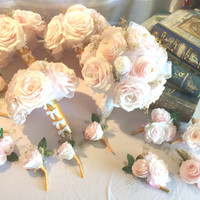 Bridal party bouquet package in blush handmade paper Peonies and Roses with gold baby's breath, Cottage chic pink bouquets, Paper Bouquets