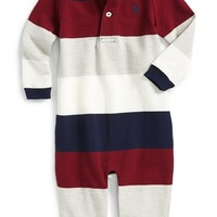 Infant Boy's Ralph Lauren Stripe Cotton Romper,