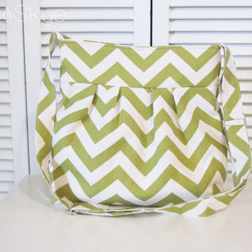 New! Skylar Bag in Green and Natural Chevron - Crossbody Handbag - Fall Purse