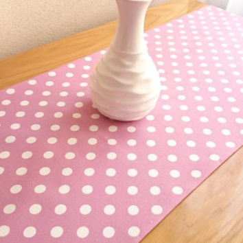 NEW!! Lilac Large Polka-Dot Table Runner, Modern Table Runner, Colorful Table Cover, Duck Tablecloth, Cotton Table Runner