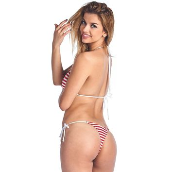 Women's Made in USA Juniors Bikini USA Flag Tie Side Thong Swimwear Made in USA