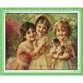 Three beautiful angels Printed Canvas DMC Counted Chinese Cross Stitch Kits printed Cross-stitch set Embroidery Needlework