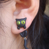 Black Cat Climbing Earings