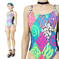 Vintage 80s Neon Checkered Swimsuit (M)