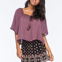 Full Tilt Crochet Womens Peasant Top Plum  In Sizes