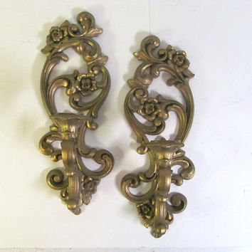 Vintage Pair of gold Homco Candle Sconces with Roses Wall Hangings .. Hollywood Regency Renaisance