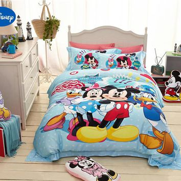 Disney Cartoon Minnie and Mickey Club house Printed Bedding Sets for girl's Bedroom Decor Silk Satin Bed Quilt Covers Twin Queen