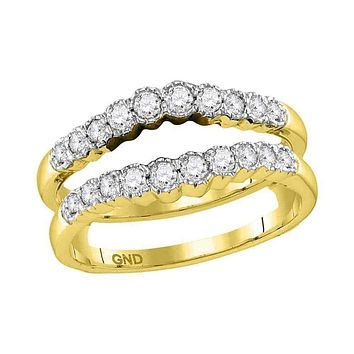 14kt Yellow Gold Women's Round Diamond Wrap Ring Guard Enhancer Wedding Band 1/2 Cttw - FREE Shipping (US/CAN)