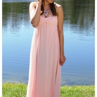Grecian Blush Dress- Exclusively E's! Fully lined- floor sweeping strapless maxi