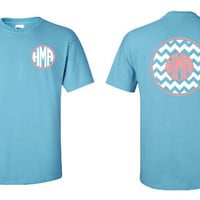Chevron Circle Monogram Shirt, Personalized 2 Color T-Shirt, Monogram Pocket Tee, Chevron Print
