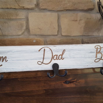 Rustic Personalized Wood Coat/ Towel/dog leash Hangers Antique white