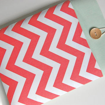 "Custom 14"" or 15"" Ultrabook Laptop Case 15"" Laptop Sleeve - Coral Chevron"