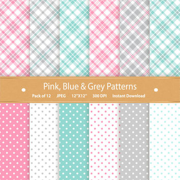 Digital Paper Pastel Plaid Spring Polka Dot Digital Paper Check Plaid Scrapbook Commercial Use Digital Scrapbook Paper Blue Pink Grey