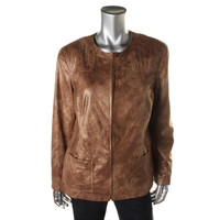 Alfred Dunner Womens Faux Suede Shimmer Jacket