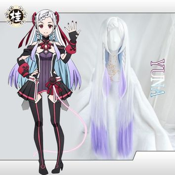 Yuna Sword Art Online Cosplay Wig Whit and Purple Gradually Changing Color Hair