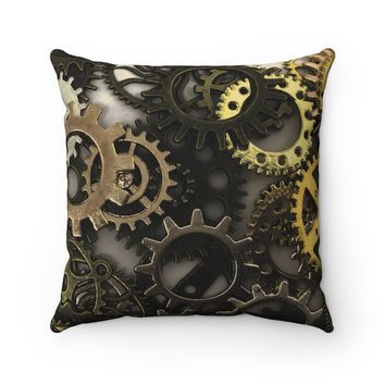 Steampunk Gears Polyester Square Pillow
