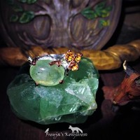 "Refreshing Grass Green Prehnite Statement Ring With Cintrine Accents - ""Jewel Of Mercury"" - Fae Sight, Love, Dreams, Luck, Money, Protection"