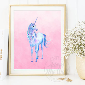 Unicorn Wall Art, Unicorn Printable, Unicorn Print, Unicorn Gift, Girls Bedroom Art, Printable, Nursery Decor, Instant Download, Prints