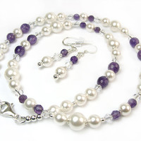 White Pearl Amethyst Necklace Earrings Set Crystals Sterling Silver Handmade