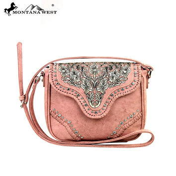 Montana West Pink Embroidered Handbag