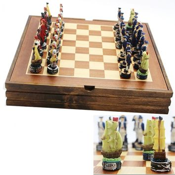 BSTFAMLY Pirate series chess set game, portable game of international chess, resin chess pieces and wood chessboard, LA43