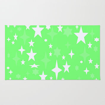 Seafoam Green & White Atomic Stars Area & Throw Rug by 2sweet4words Designs | Society6