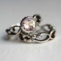 Pink morganite engagement ring set  bezel solitaire by metalicious
