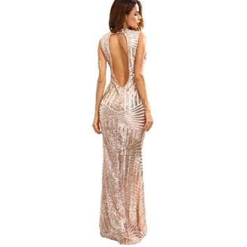 Women's Rose Gold Sequin Backless