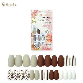 24Pcs/Set Matte Nep Nagels Medium Square Head Full Cover Fake Nails with Glue Coffin Fake Nail for Decoration Manicure