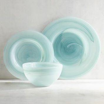 Turquoise Alabaster Glass Dinnerware