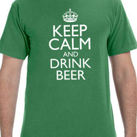 St Patrick's Day Keep Calm and Drink Beer Men's T-shirt Husband Gift Cool Party T Shirt Boyfriend Gift Shirts Irish Gift Ireland shirt