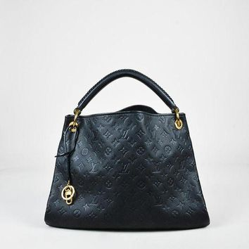LMFON Tagre? Louis Vuitton Black Monogram Empreinte Leather Artsy MM Hobo Bag,leather bag stylish Soft Bohemia new arrivals